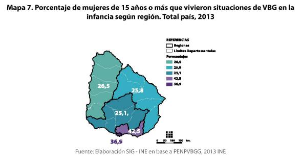 9 - Porcentaje de mujeres de 15 o más años que vivieron situaciones de violencia familiar en la infancia según región
