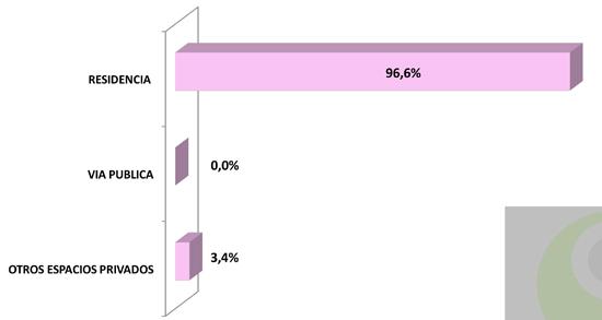 10 - Distribución de lugar donde se cometió el homicidio por violencia doméstica